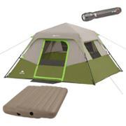 Ozark Trail 6-Person Instant Cabin Tent with 2 Airbeds and Flashlight Bundle