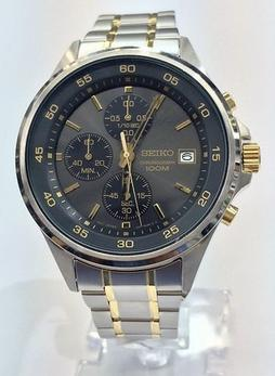 Seiko Men's Two Tone Stainless Steel Chronograph Watch SKS481
