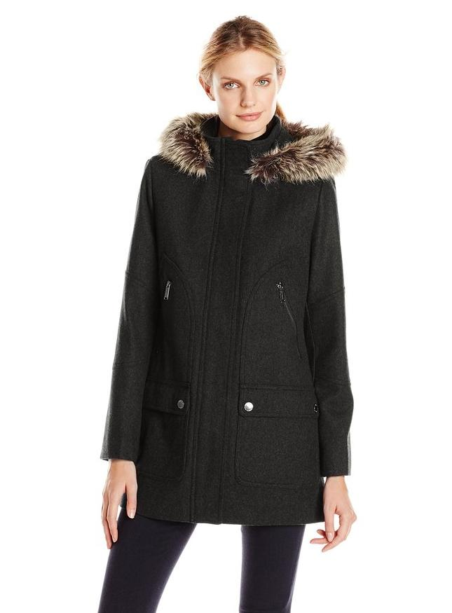 London Fog Women's Wool-Blend Parka with Faux-Fur Hood
