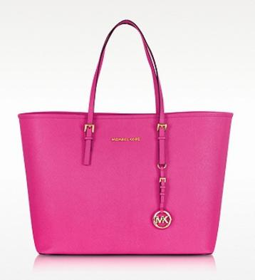 MICHAEL KORS Jet Set Travel Raspberry Saffiano Leather Top-Zip Tote