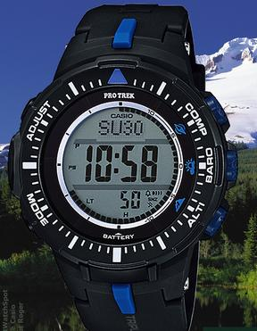 Casio Men's PRG-300-1A2CR Pro Trek Triple Sensor Tough Solar Digital Display Quartz Black Watch