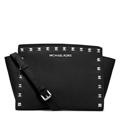 MICHAEL Michael Kors 'Medium Selma' Studded Saffiano Leather Crossbody Bag
