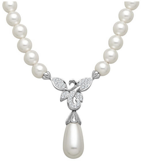 Flower Necklace with Swarovski Crystals & Pearls