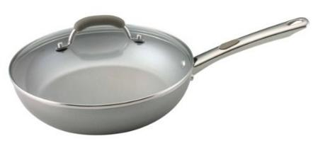 Farberware Specialties Aluminum Nonstick 10-1/2-Inch Deep Covered Skillet, Platinum