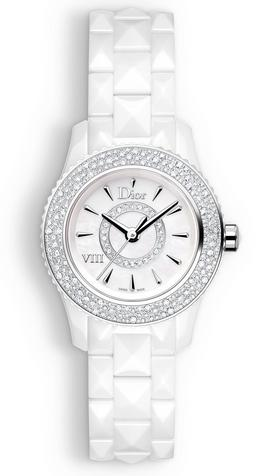 Dior VIII Mother of Pearl White Hi Tech Ceramic Diamond Ladies Watch CD1221E4C001