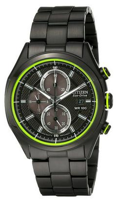 Citizen Men's Drive CA0435-51E HTM 2.0 Eco-Drive Black Ion Plated Stainless Steel Chronograph Watch