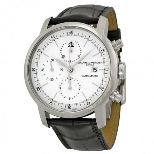 Lowest price! Baume and Mercier Classima Automatic Chronograph White Dial Black Leather Men's Watch 08591