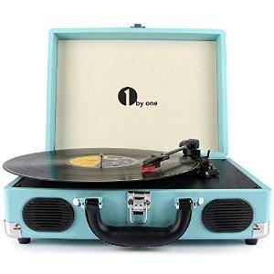 1byone Belt-Drive 3 Speed Stereo Portable Turntable with Built in Speakers, All colors