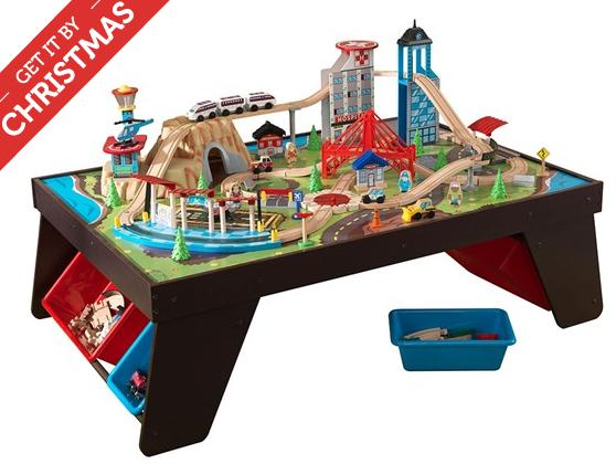 KidKraft 17806 Aero City 85-Piece Train Set and Table