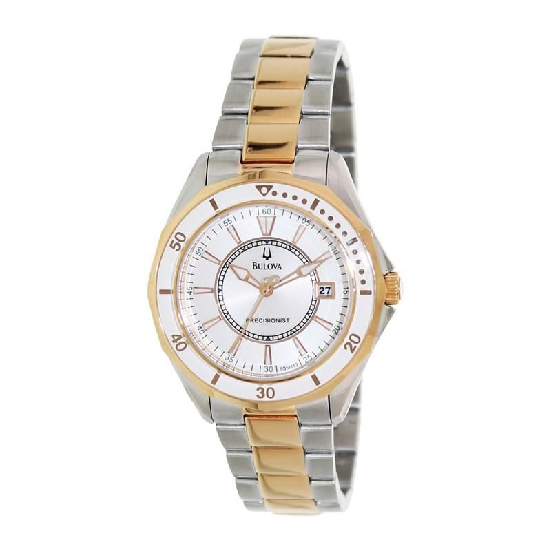 Bulova Women's 98M113 Precisionist Collection Winter Park Two-tone with Rose Gold Stainless Steel Watch