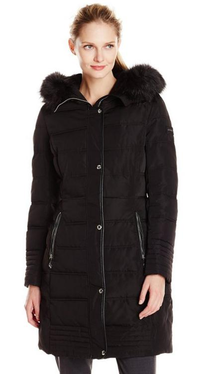 Calvin Klein Women's Mid Length Down Coat with Faux Fur Trim