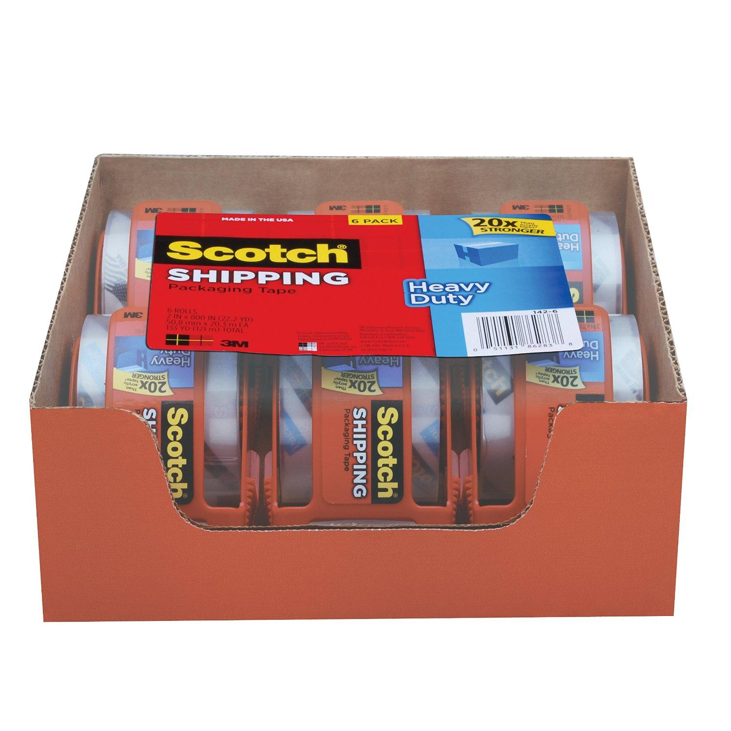 Scotch Heavy Duty Shipping Packaging Tape 6 Rolls with Dispenser