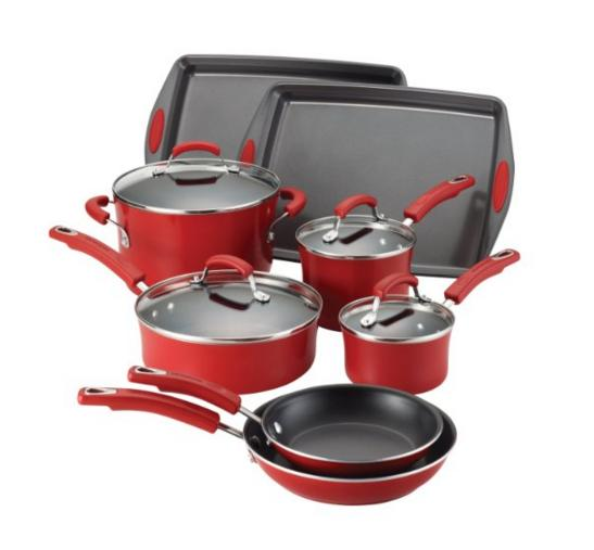 Lowest price! Rachael Ray Porcelain Enamel II Nonstick 12-Piece Cookware Set, Red Gradient