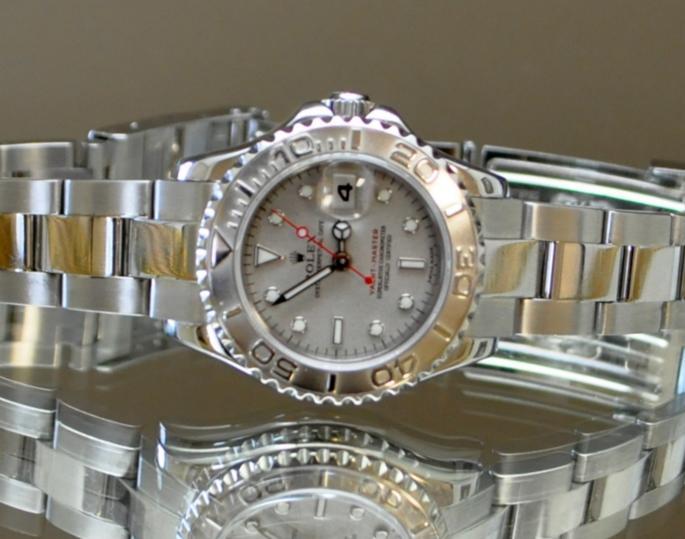 ROLEX Yachtmaster Grey Index Dial Oyster Bracelet Ladies Watch