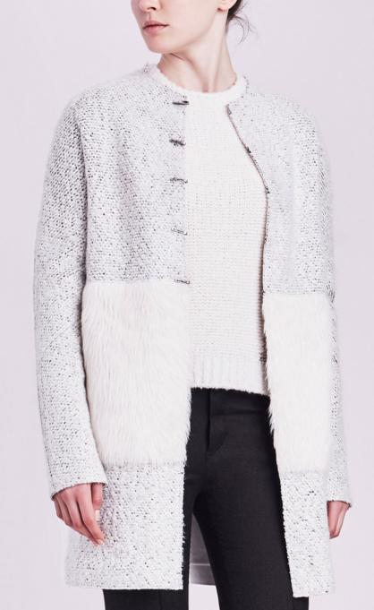 LEEANN COAT WITH FAUX FUR @ Elie Tahari