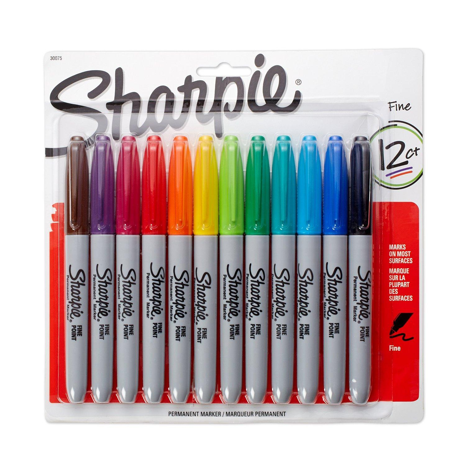Sharpie Fine Point Permanent Markers, 12-Pack, Assorted Colors