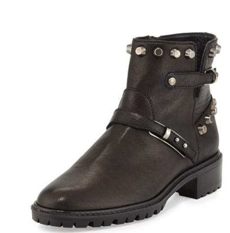 Stuart Weitzman GoWest Studded Leather Ankle Boot, Black @ Neiman Marcus
