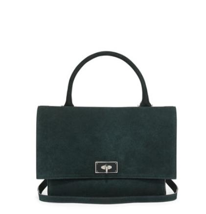 Givenchy Suede Shark-Tooth-Lock Shoulder Bag, Green @ Neiman Marcus