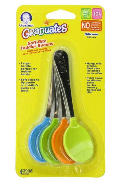 Gerber Graduates Soft-Bite Toddler Spoons in Assorted Colors, 4-count @ Amaozn