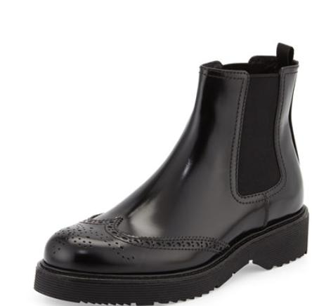 Prada Leather Wing-Tip Chelsea Boot, Black @ Neiman Marcus