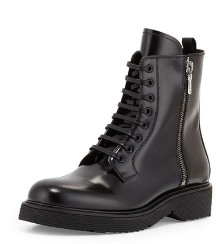Prada Combat Lace-Up Boot, Black (Nero) @ Neiman Marcus