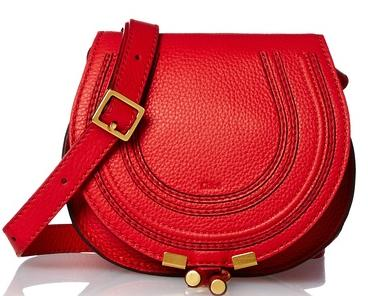 Chloé Marcie Small Saddle Cross-Body, Paprika Red On Sale @ MYHABIT