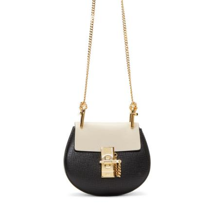 Chloé  Black & Beige Leather Nano Drew Bag