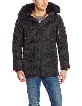 $104.48 Alpha Industries Men's N-3B Slim Fit Parka, Black/Orange