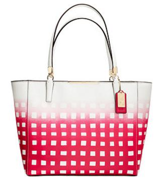 COACH Madison Gingham Saffiano E/W Bond Tote On Sale @ 6PM.com