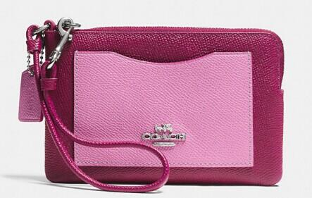 EMBOSSED small l-zip wristlet in leather @ Coach