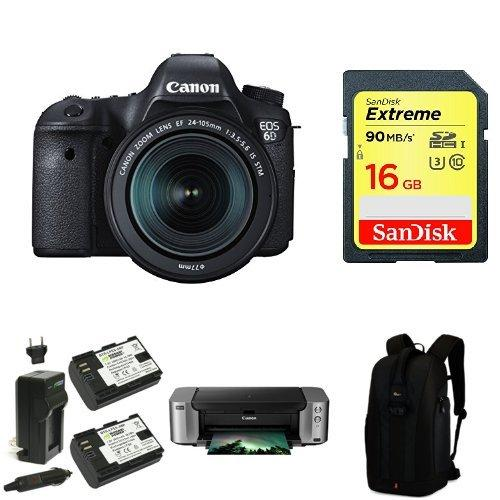 Canon EOS 6D 20.2 MP CMOS Digital SLR Camera with 3.0-Inch LCD and EF 24-105mm IS STM Lens Kit + PIMXA Pro 100 Printer, Photo Paper, Memory Card, Bag and Battery