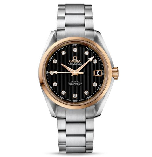 OMEGA Seamaster Aqua Terra Diamond Black Dial 18 Carat Rose Gold Case Automatic Men's Watch