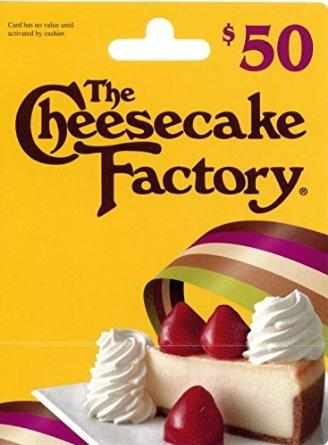 Free $10 Amazon credit $50 The Cheesecake Factory Gift Card