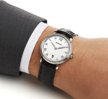 MONTBLANC Tradition Date White Guilloche Dial Black Leather Men's Watch
