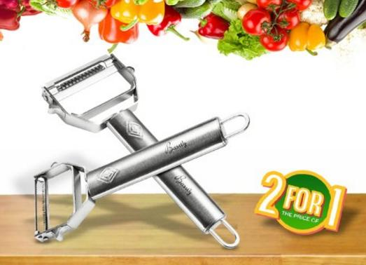 Lightning Deal Basily Premium Julienne and Serrated Stainless Steel Peeler - Set of 2