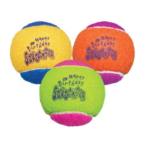 Best seller! KONG Air Dog Squeakair Birthday Balls Dog Toy, Medium, Colors Vary (3 Balls)
