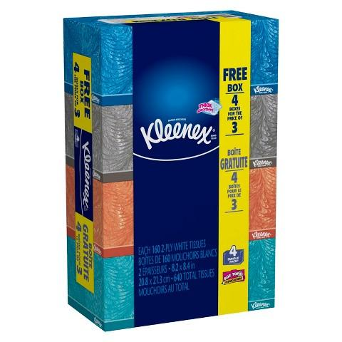 Kleenex Everyday Facial Tissues 160 Count, 4 Pack