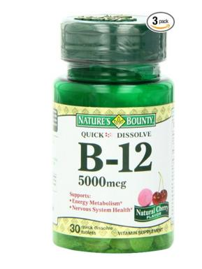 Nature's Bounty Sublingual Vitamin B-12, 5000mcg, 30 Tablets (Pack of 3)