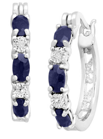 2 1/10 ct Sapphire Earrings with Diamonds