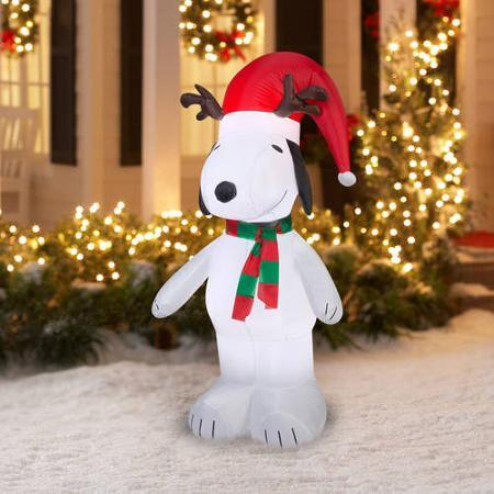 5' Airblown Inflatable Snoopy with Antlers and Santa Hat Christmas Inflatable