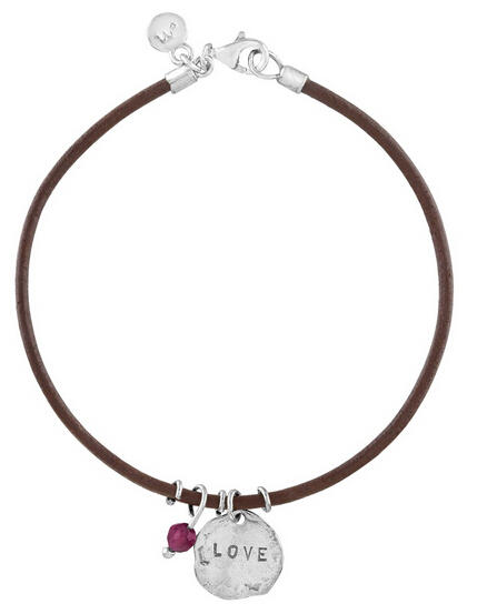 'Love' Leather Charm Bracelet with Garnet