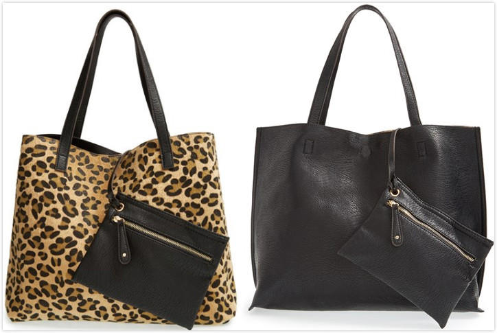 Street Level Reversible Faux Leather Tote On Sale @ Nordstrom