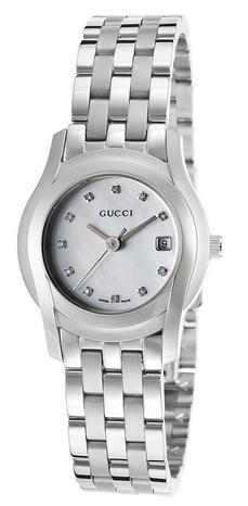 Gucci Women's 5500 Diamond Stainless Steel White MOP Dial Watch