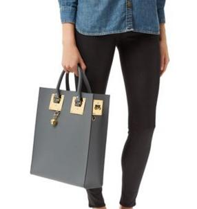 Sophie Hulme Albion Leather Tote Bag, Charcoal