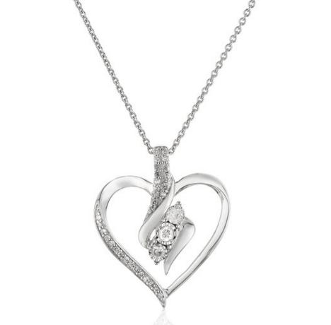 Sterling Silver Diamond Heart Pendant Necklace (1/4 cttw), 18