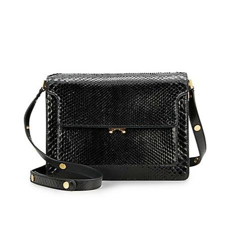 Marni Python Medium Triple-Gusset Shoulder Bag