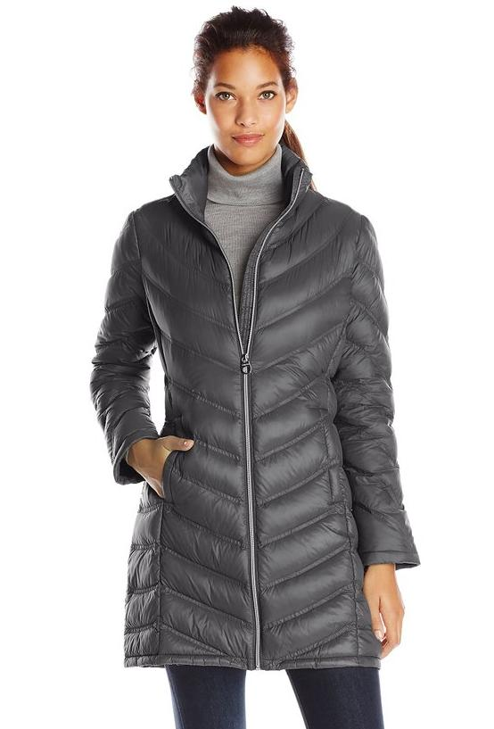Calvin Klein Women's Chevron-Quilted Packable Down Coat @ Amazon
