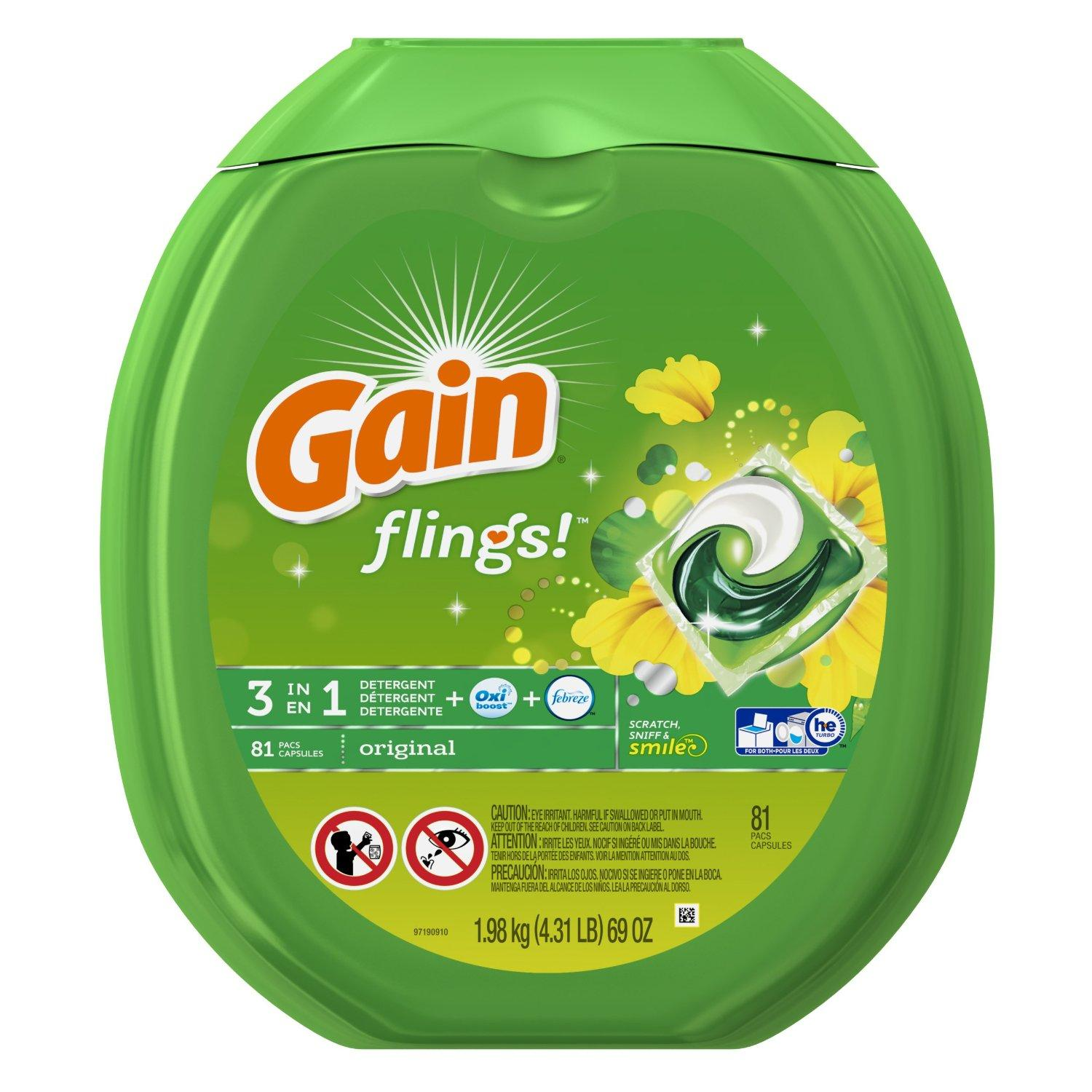 $14.92 Gain Flings Original Laundry Detergent Pacs, 81 Count