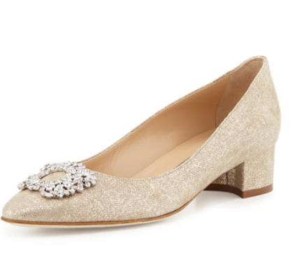 Manolo Blahnik Listony Crystal-Buckle Low-Heel Pump
