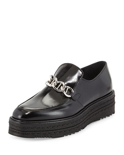 Prada Spazzolato Chain Platform Creeper Shoes @ Neiman Marcus